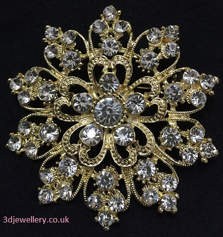 large gold brooches - diamante flower brooch 60 mm