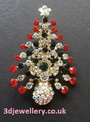Coloured diamante brooches -  christmas brooch red and green Christmas tree 45 mm