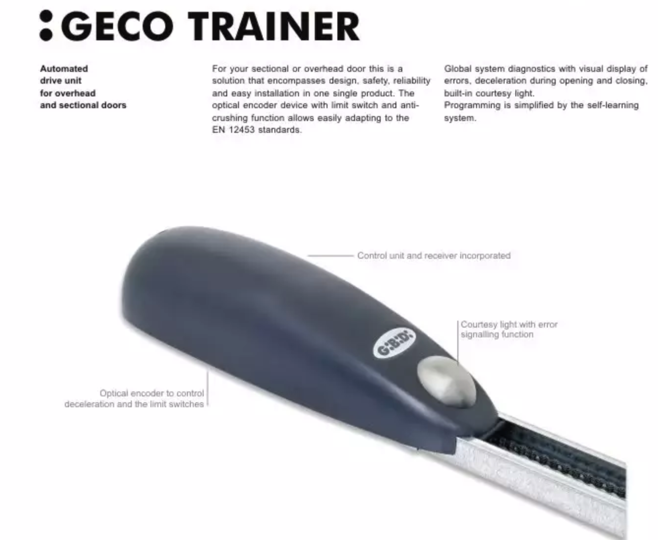 Gibidi geco trainer garage door opener