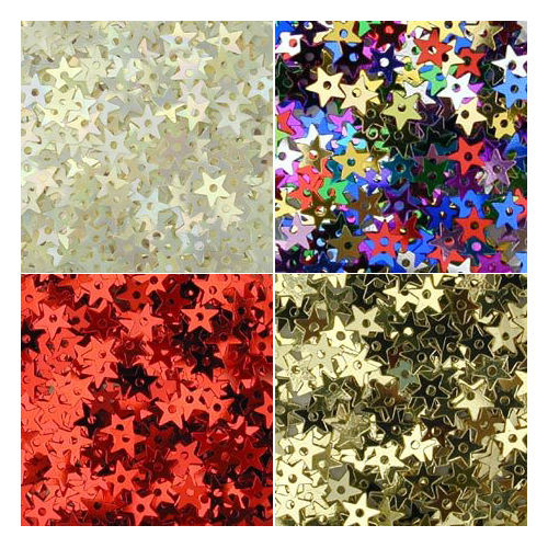 Tiny Star Sequins, 5mm, pack of 1g