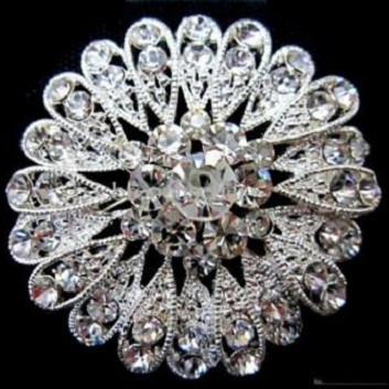 Large diamante brooches - marigold flower silver brooch 45 mm
