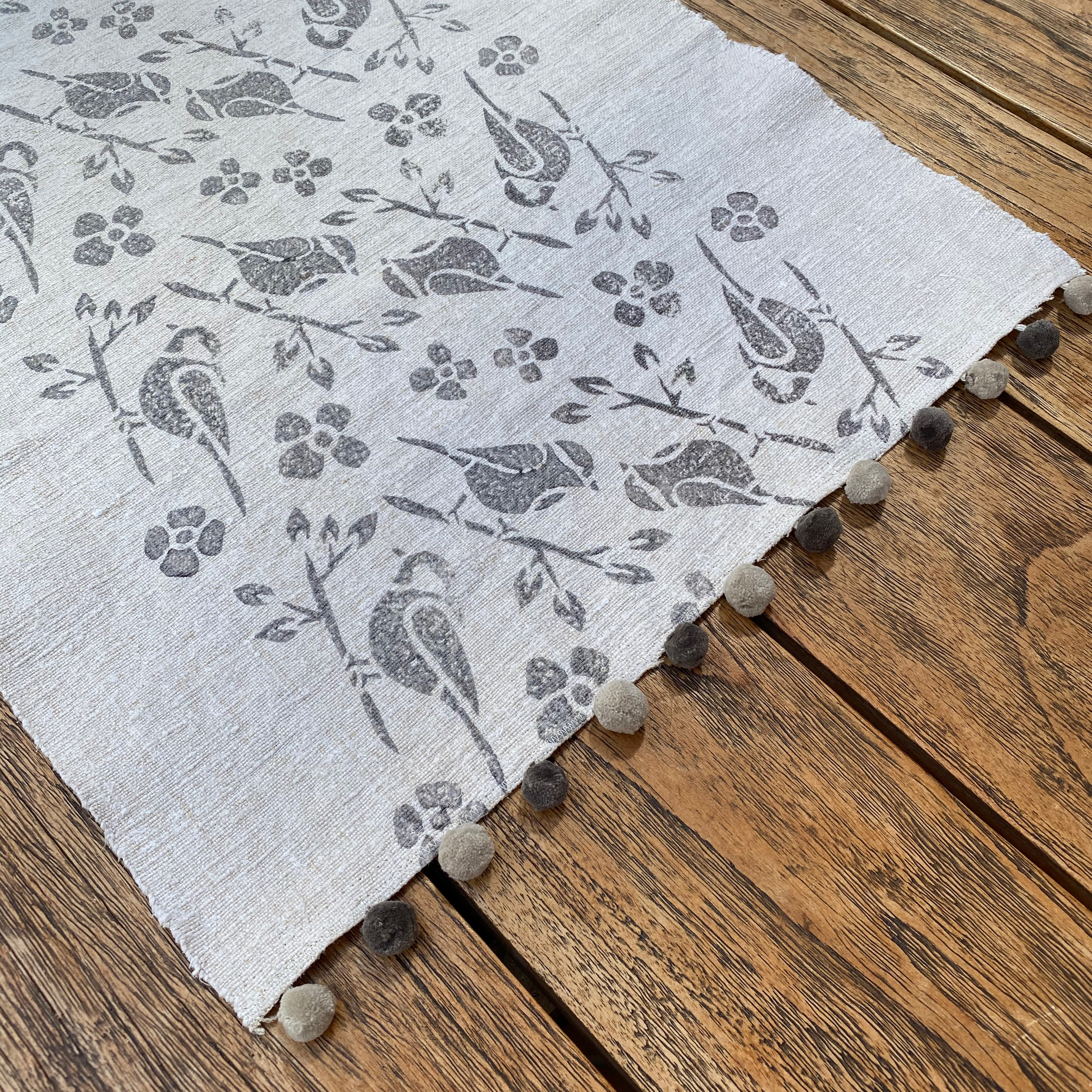 Hand Block Printed Table Runner in Grey