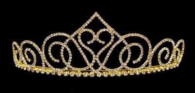 Prom crowns - swooning heart diamante gold tiara