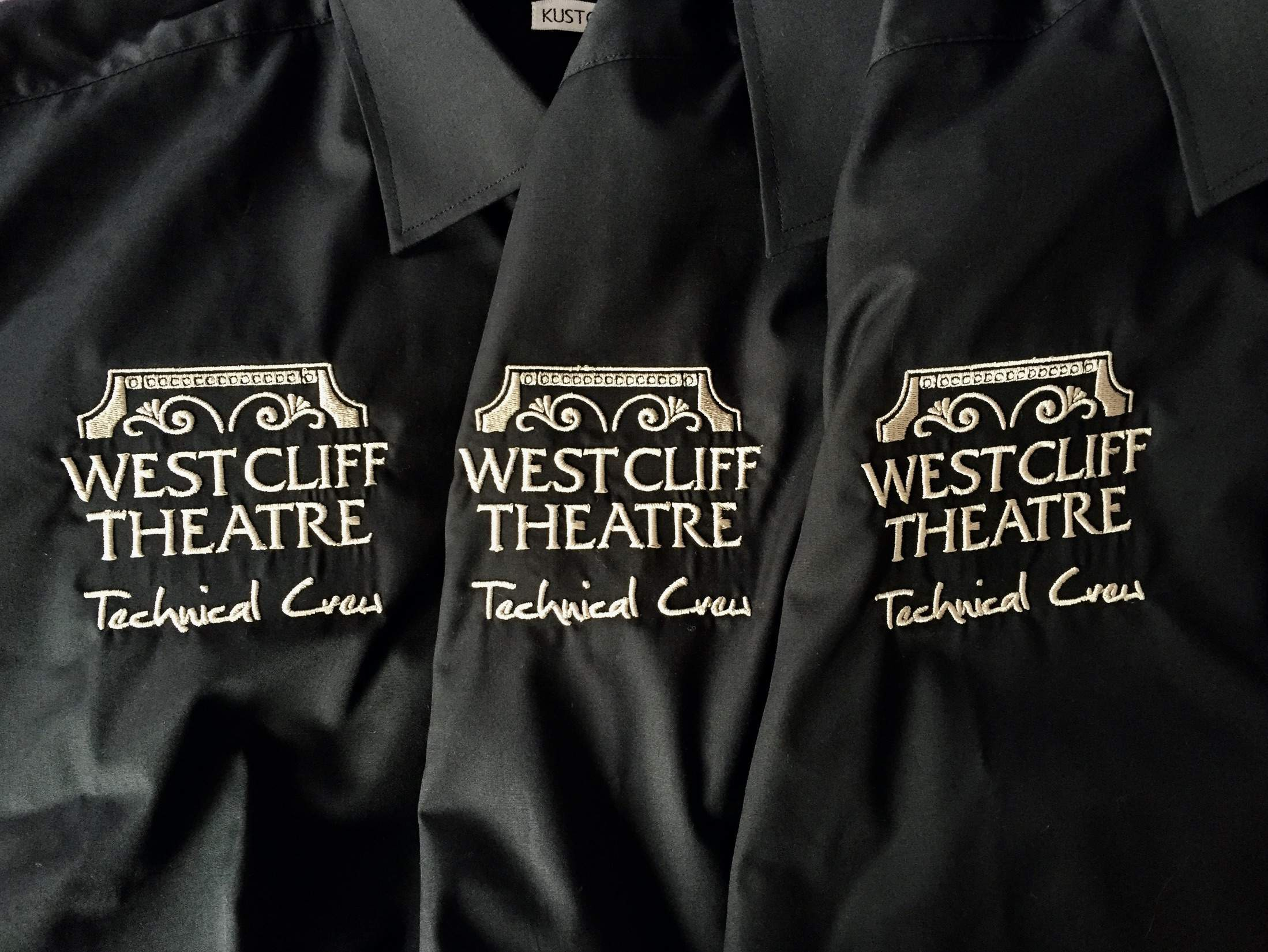 Westcliff theatre  embroidery & digitizing service logo embroidered clothing uniform & workwear t-shirts polos hoodies jackets clacton essex uk