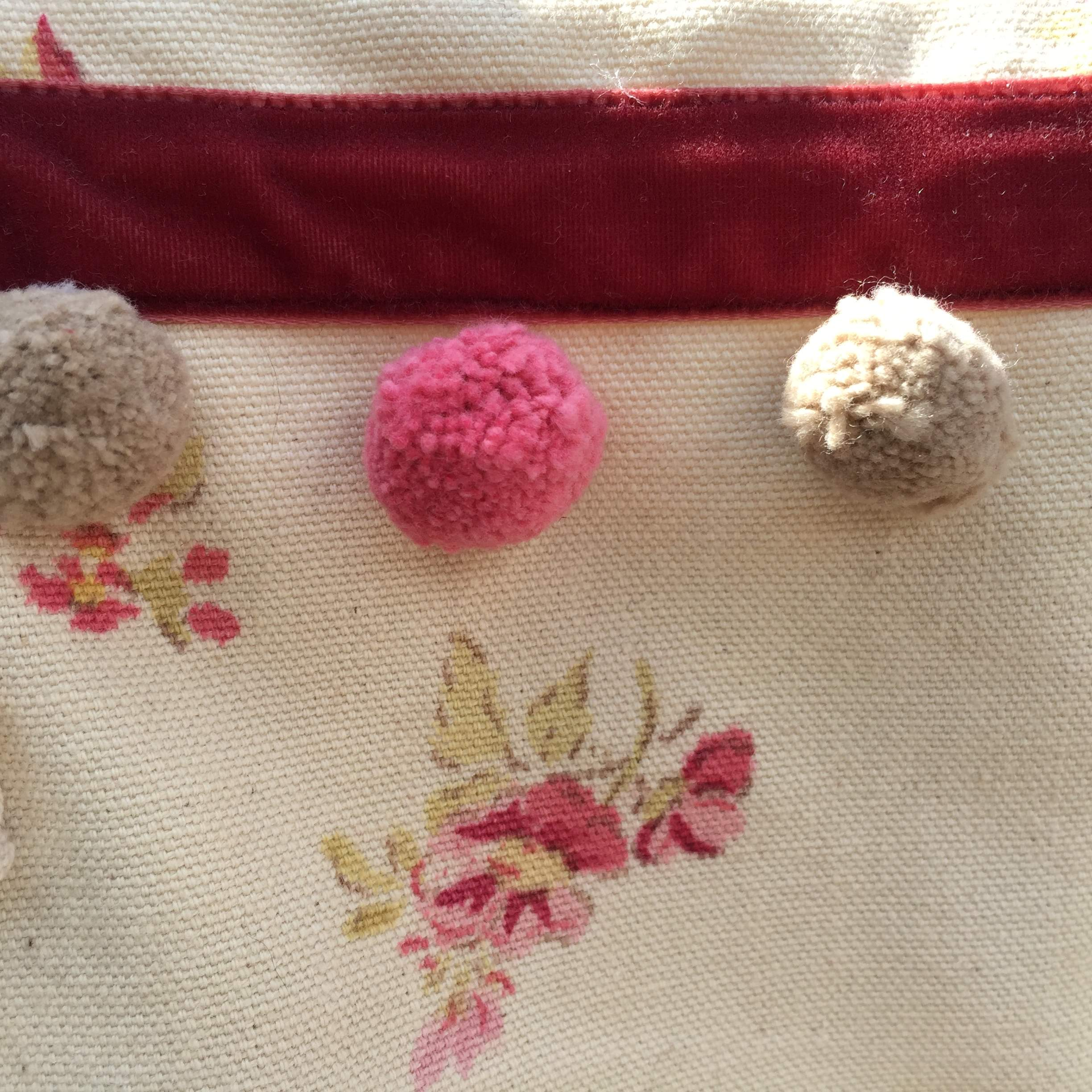 Floral French Pom Pom Shoulder Bag