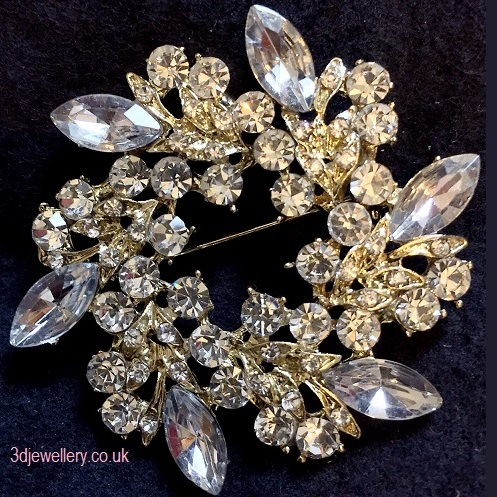 Large gold brooches - wreath brooch 50 mm