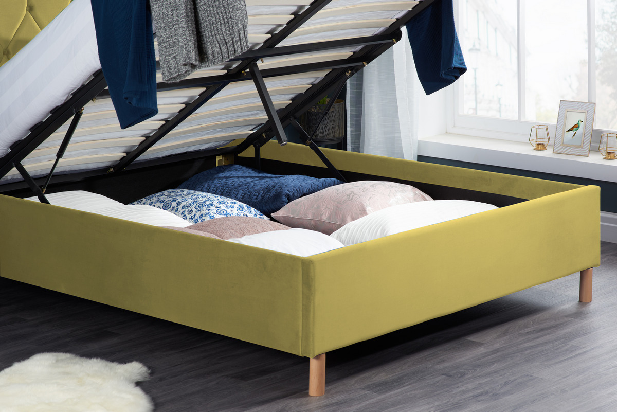 Loxley Ottoman Fabric King Bed - Mustard