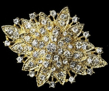 LAST ONE - vintage style diamond shaped brooch 65 x 50 mm