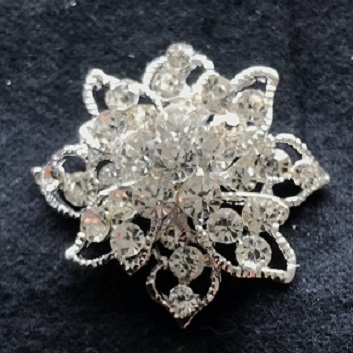 Small diamante brooches - palace crystal silver brooch 35 mm