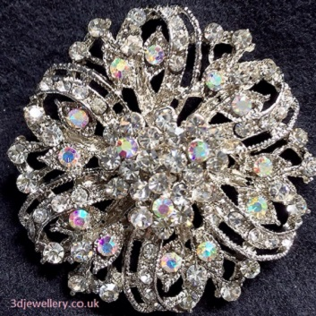 Large diamante brooches - Ribbon Victorian style brooch with rainbow crystals 50 mm