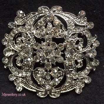 Large diamante brooches - hearts and flowers silver brooch 58 mm