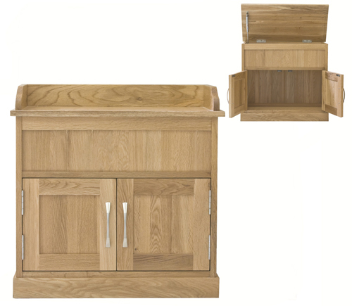 MOBEL - OAK SHOE BENCH WITH HIDDEN STORAGE