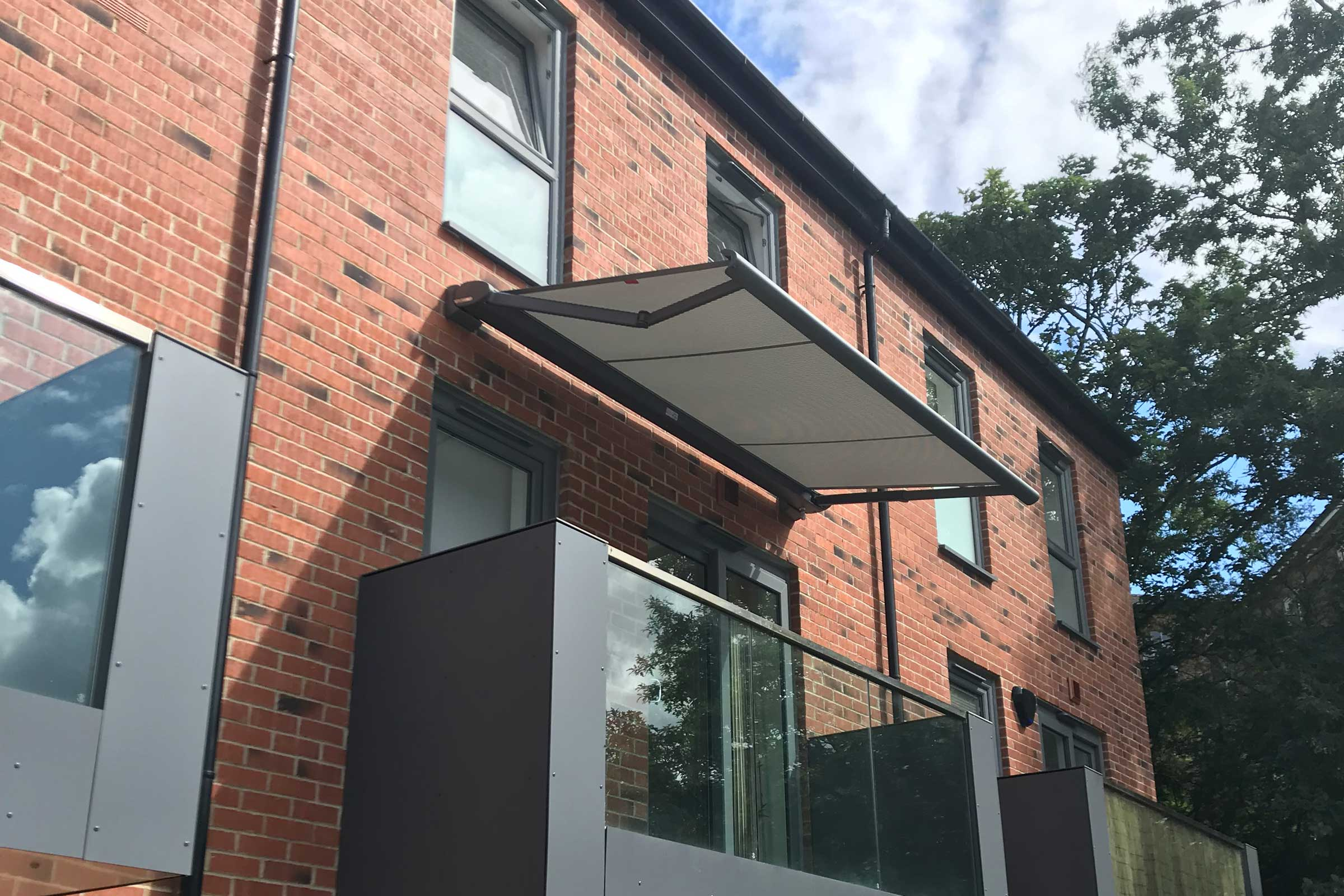 A grey balcony awning