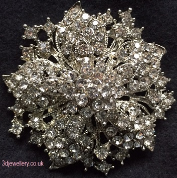 Large diamante brooches - glorious silver brooch 55 mm