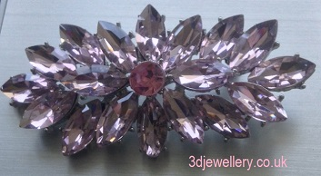 Coloured diamante brooches - pink crystal marquise magic silver brooch  74 mm