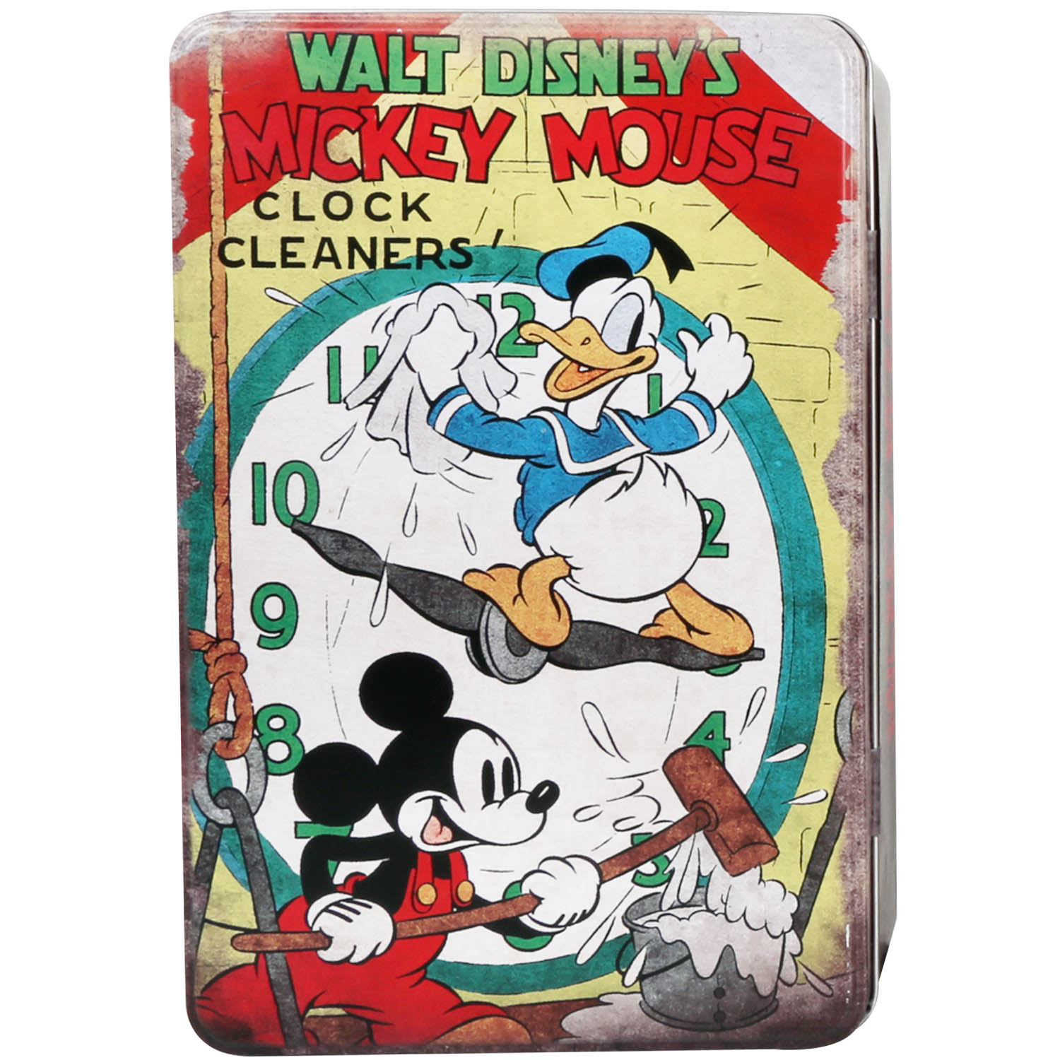Mickey Mouse Clock Cleaners Design Small Tin Storage Container New