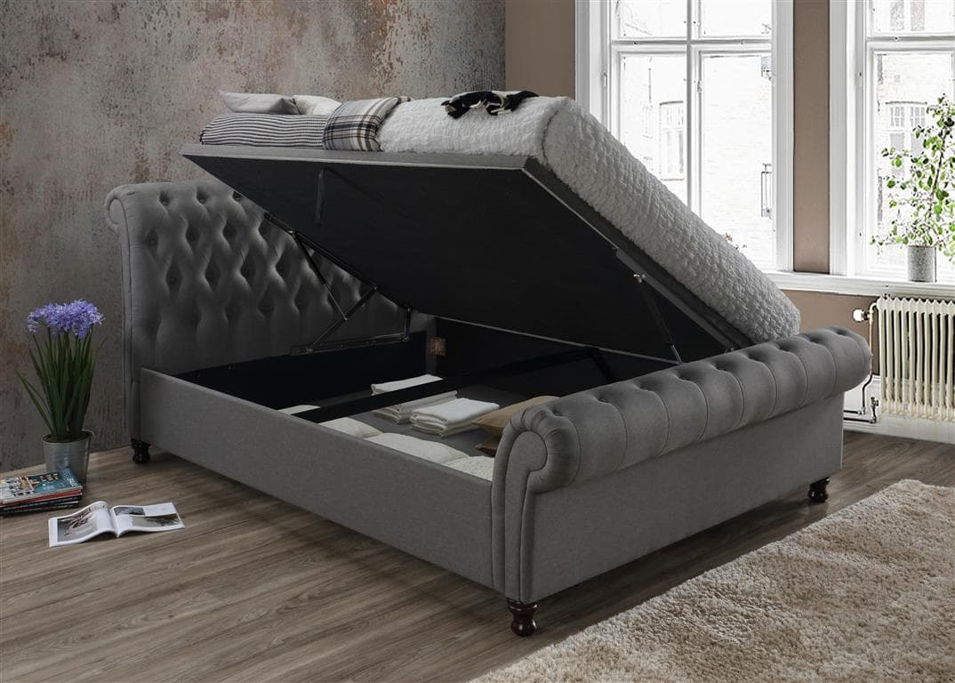 CASTELLO SIDE OTTOMAN DOUBLE BED - GREY