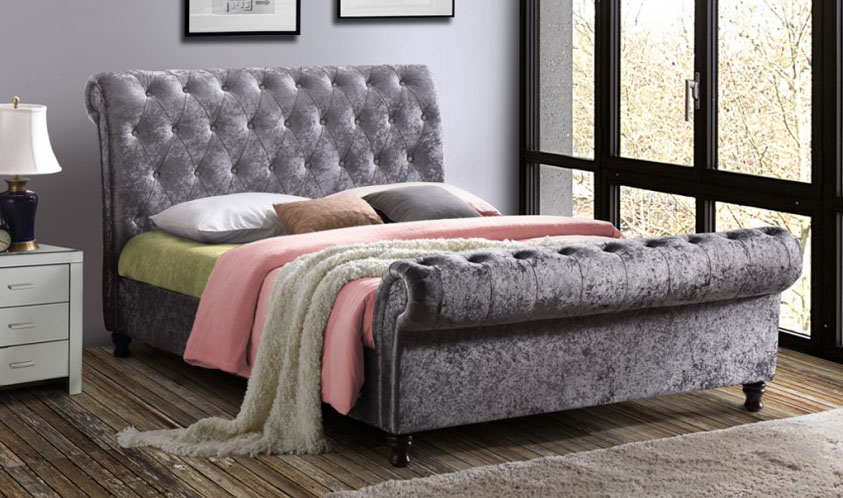 CASTELLO CRUSHED VELVET  FABRIC BED - DOUBLE