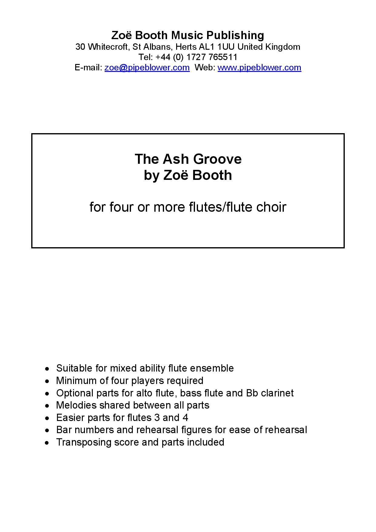 The Ash Groove  by Zoë Booth for four or more flutes/flute choir