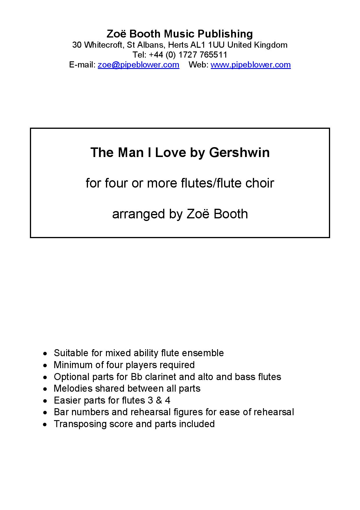 The Man I Love by Gershwin,  arranged by Zoë Booth for four or more flutes/flute choir