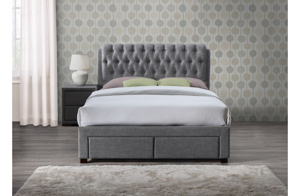 VALENTINO GREY 2 DRAWER FABRIC KING SIZE BED