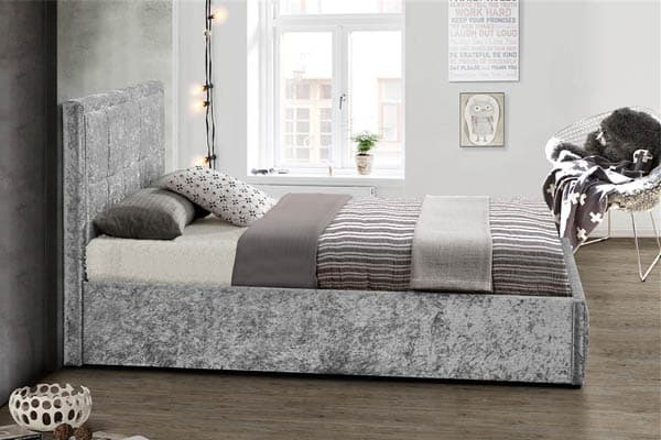 HANNOVER FABRIC OTTOMAN CRUSHED STEEL VELVET BED - KING