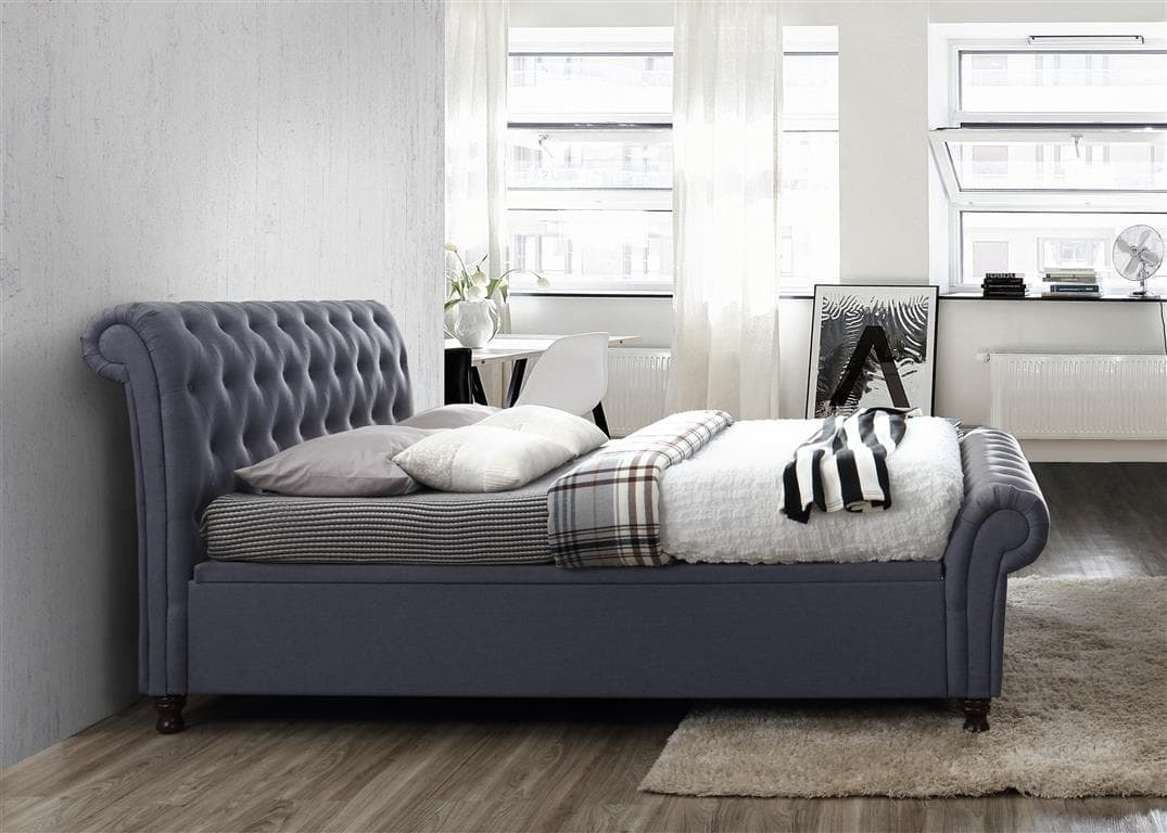 CASTELLO SIDE OTTOMAN DOUBLE BED - CHARCOAL