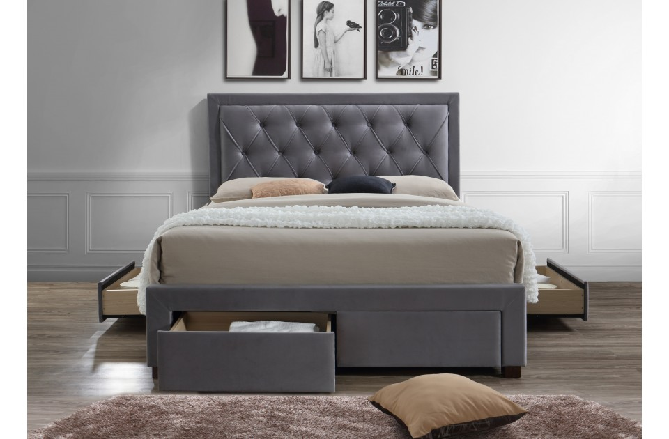 WOODBURY GREY FABRIC DRAWER BED KING SIZE