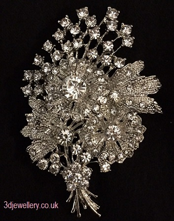 Diamante brooches - floral bouquet silver brooch 80x50mm