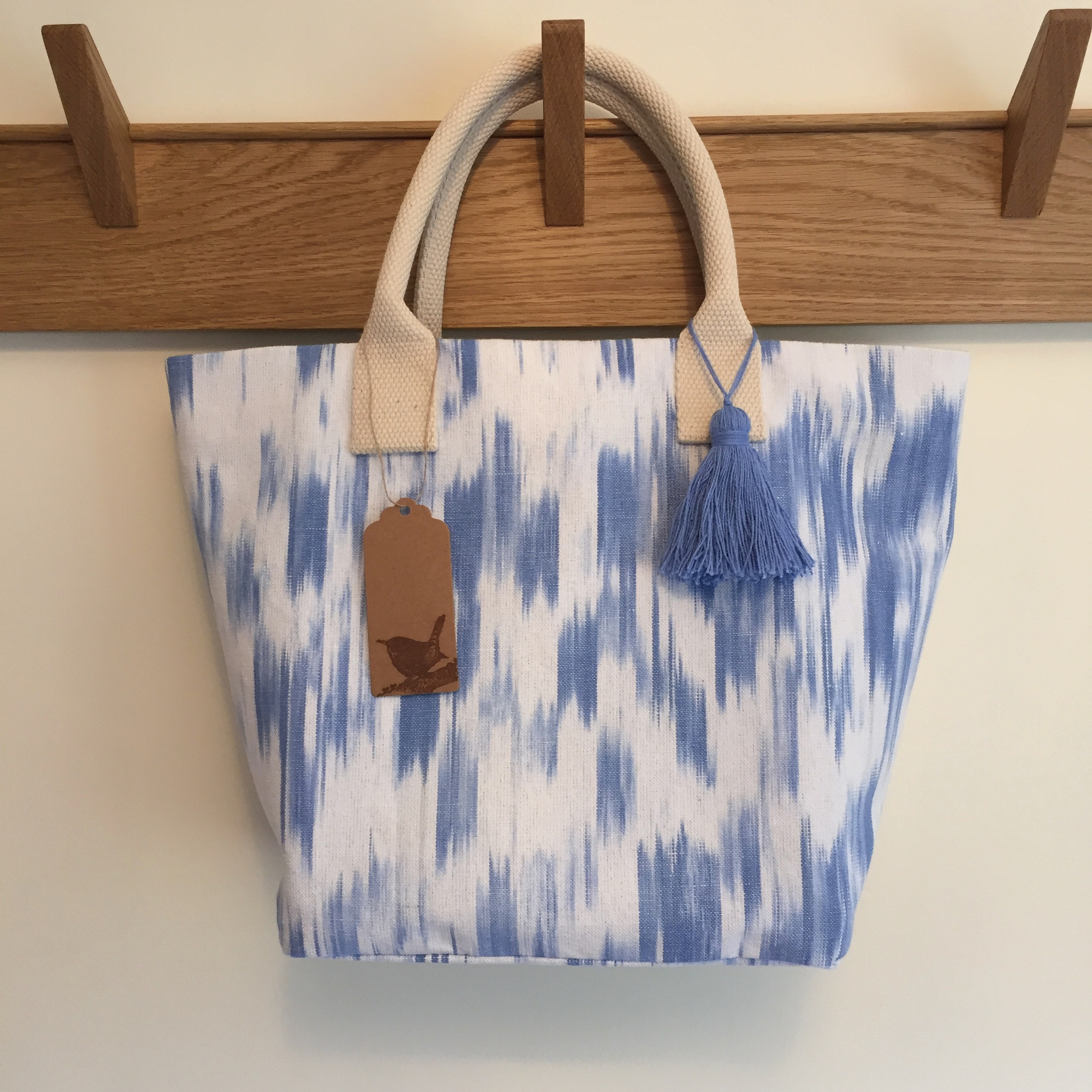 Cornflower Blue Ikat with Tassel