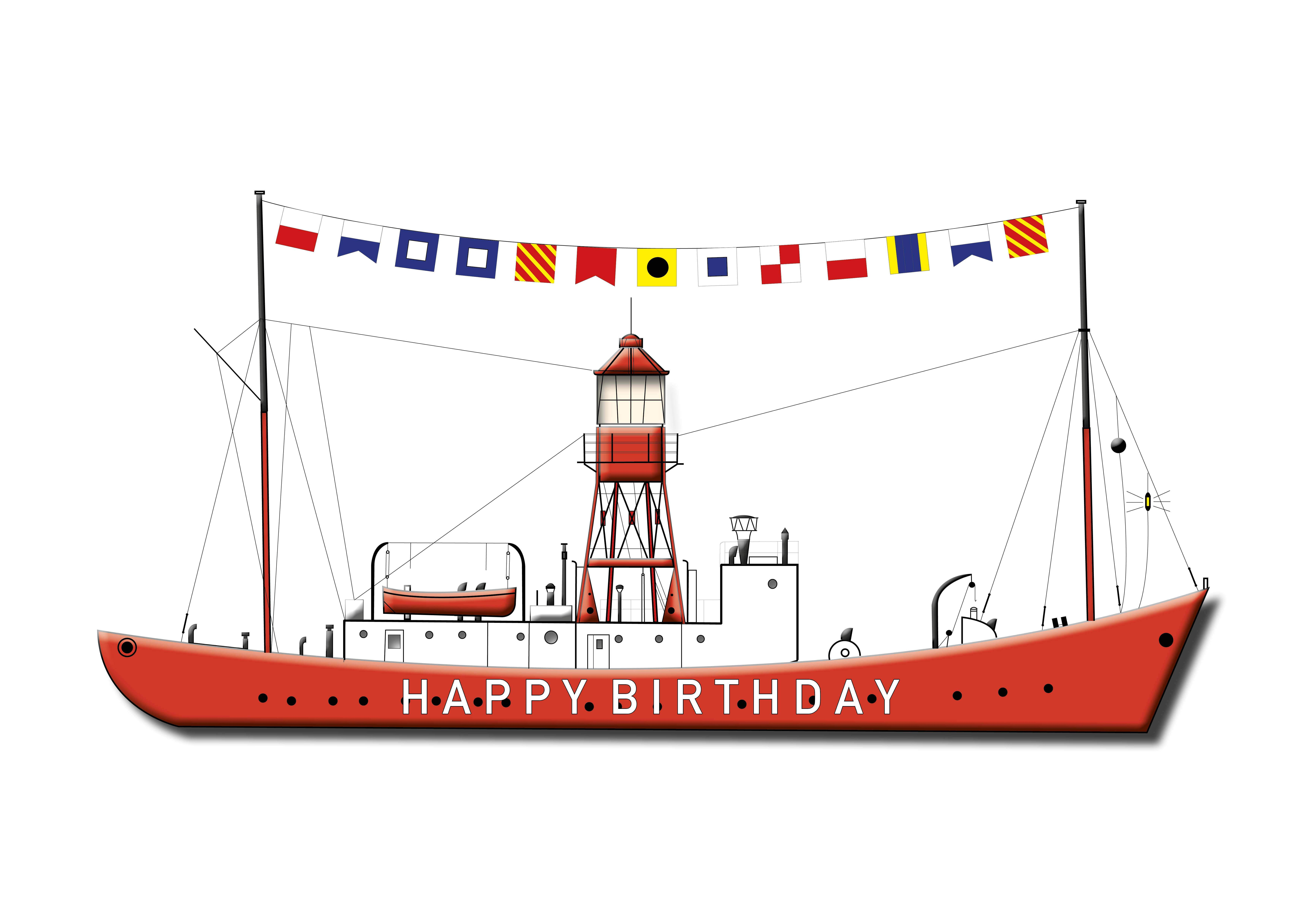 Happy Birthday - Lightship Greetings Cards - Pack of 4
