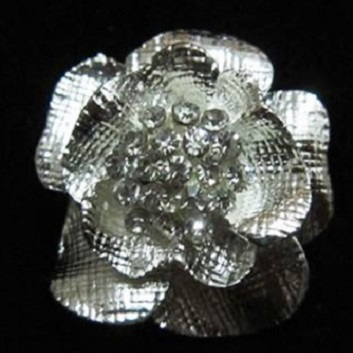 Small diamante brooches - solid flower silver brooch 30 mm