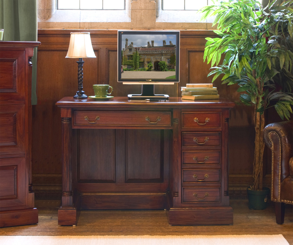 LA ROQUE - MAHOGANY SINGLE PEDESTAL COMPUTER DESK