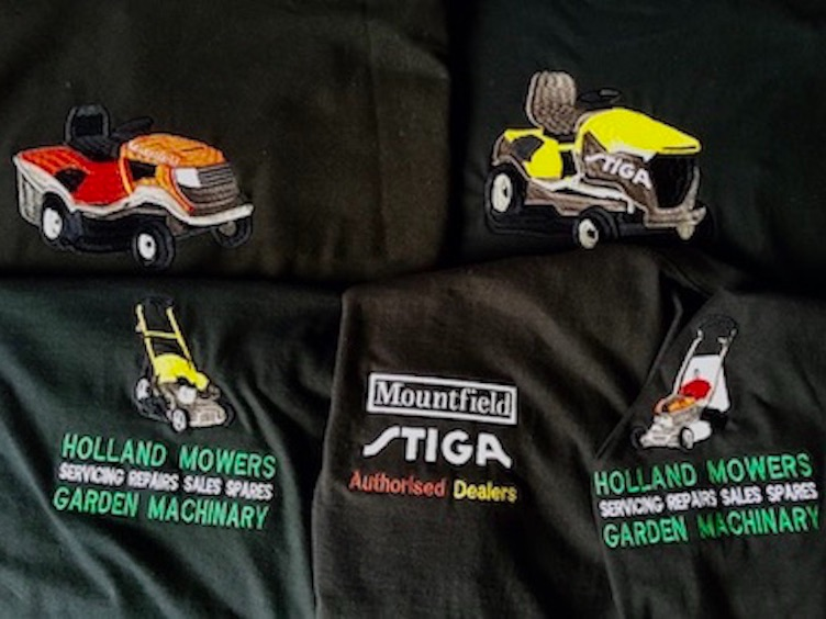 embroidered lawnmower embroidery service logo embroidered clothing uniform & workwear essex uk