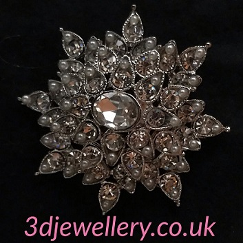 Large silver pearl brooches - layered brooch with tiny pearls 50 mm