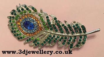 Coloured brooches - peacock feather vibrant coloured brooch 70 x 30 mm
