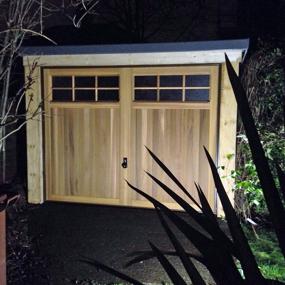 Glazed timber garage door