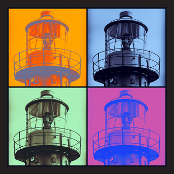 Lightship 'pop-art' square postcard
