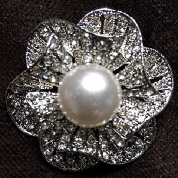 Large silver pearl brooches - floral fan brooch 45 mm