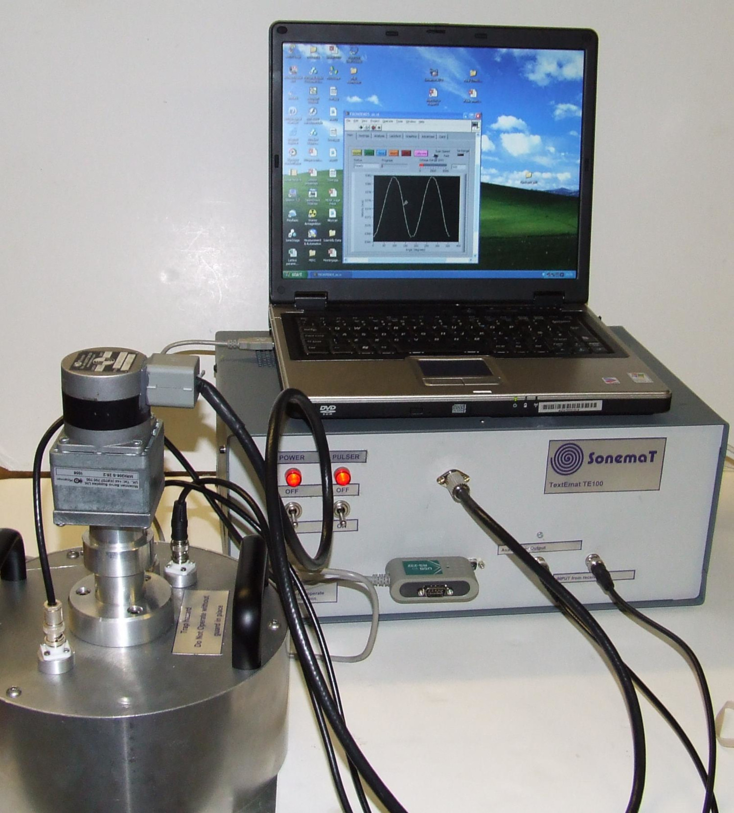 Ultrasonic texture measurement system in our labs. The whole system can easily be transported by car