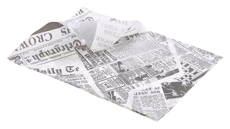 Greaseproof Paper White Newspaper Print 25 x 35cm