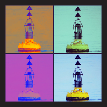 Buoys 'pop-art' square postcard