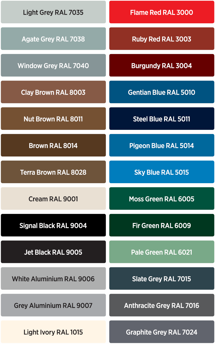 Door colour chart