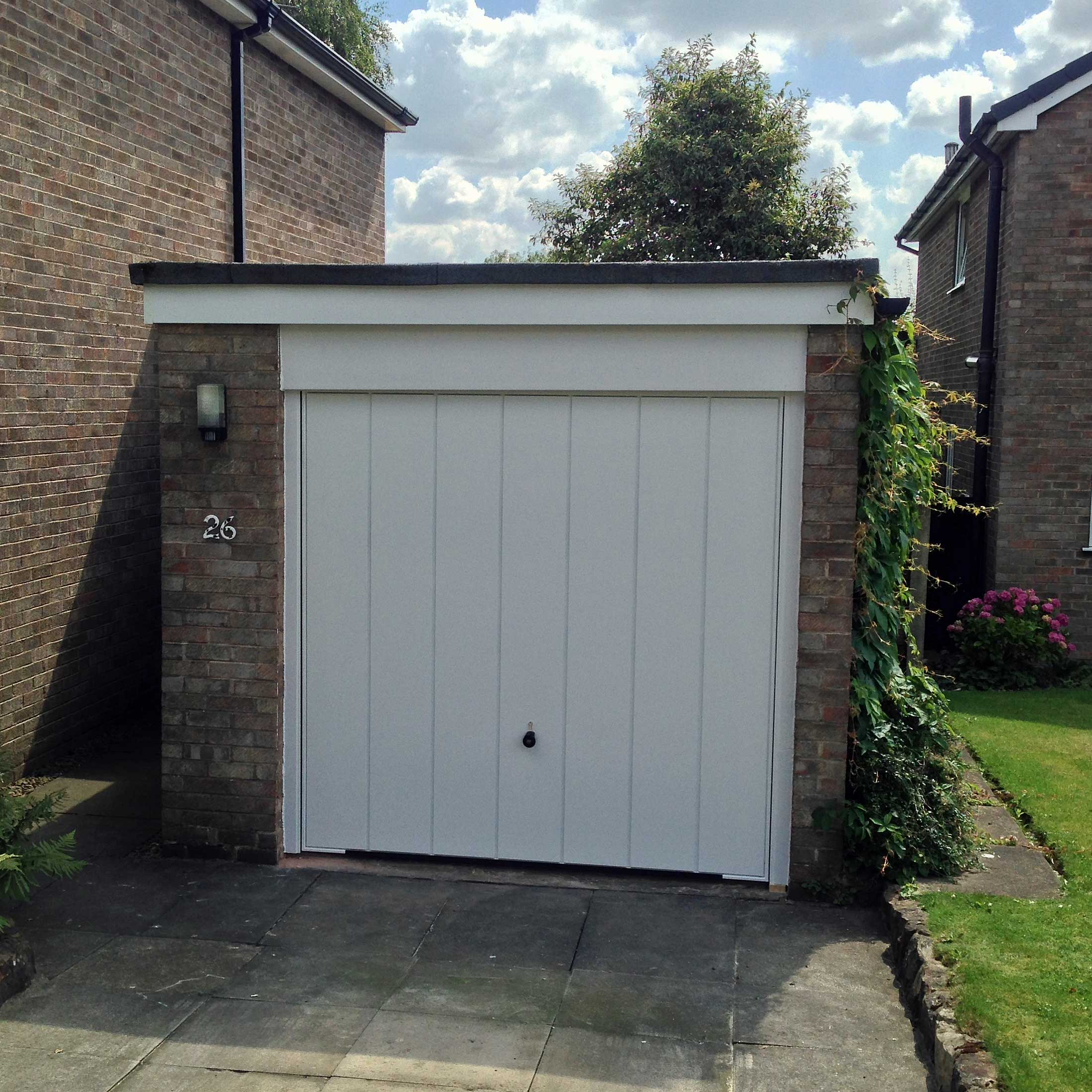 White vertical panel garage door