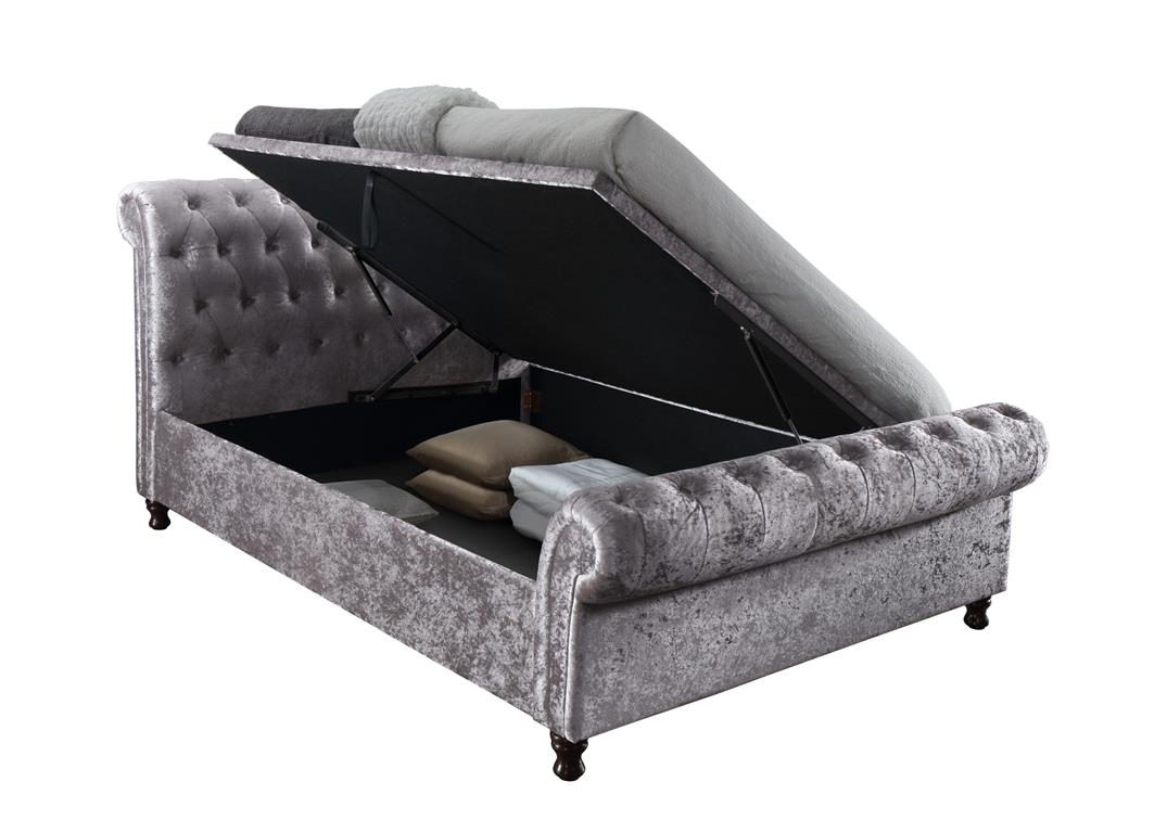 CASTELLO SIDE OTTOMAN DOUBLE BED - CRUSHED VELVET