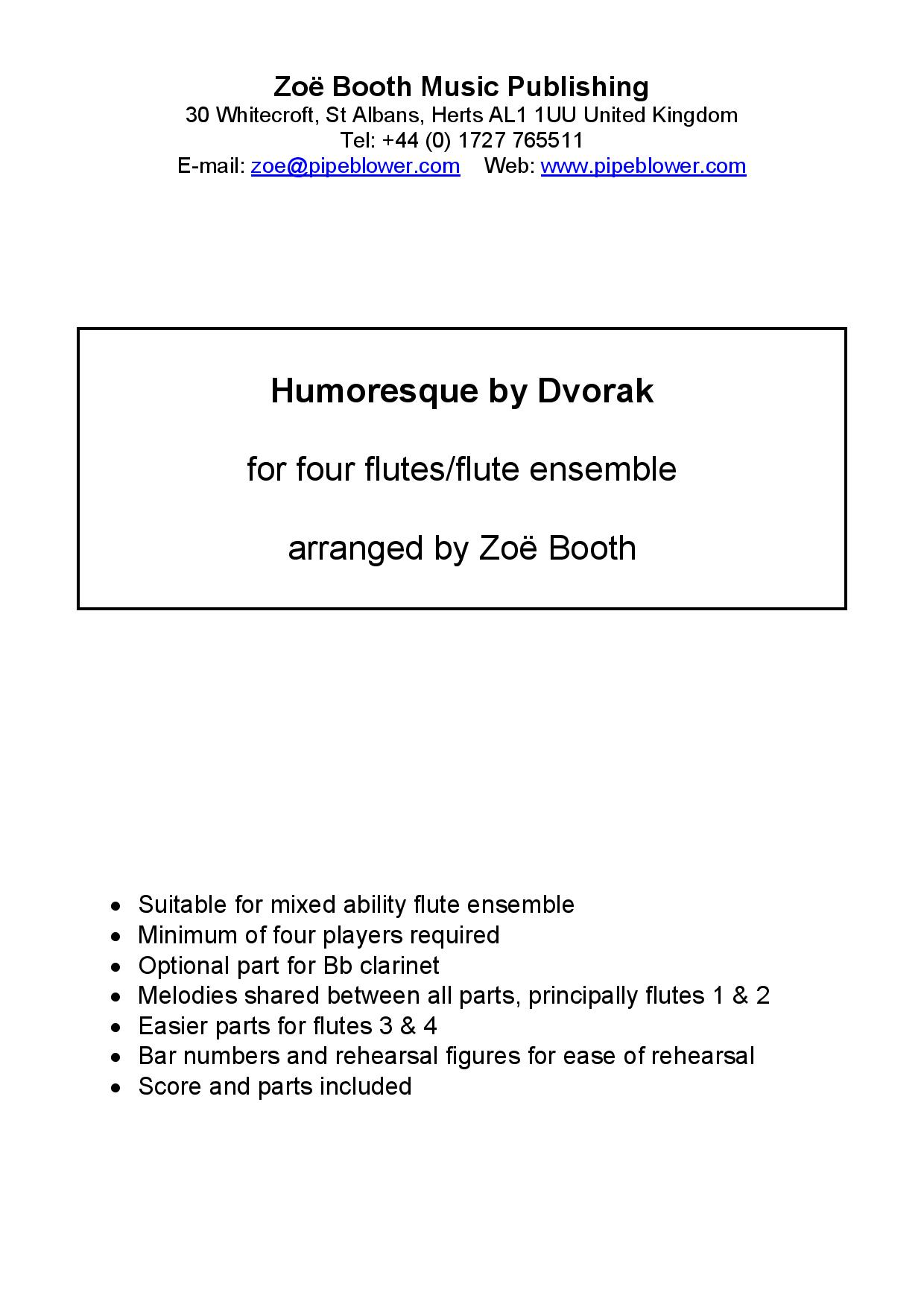 Humoresque by Dvorak,  arranged by Zoë Booth for four or more flutes/flute choir