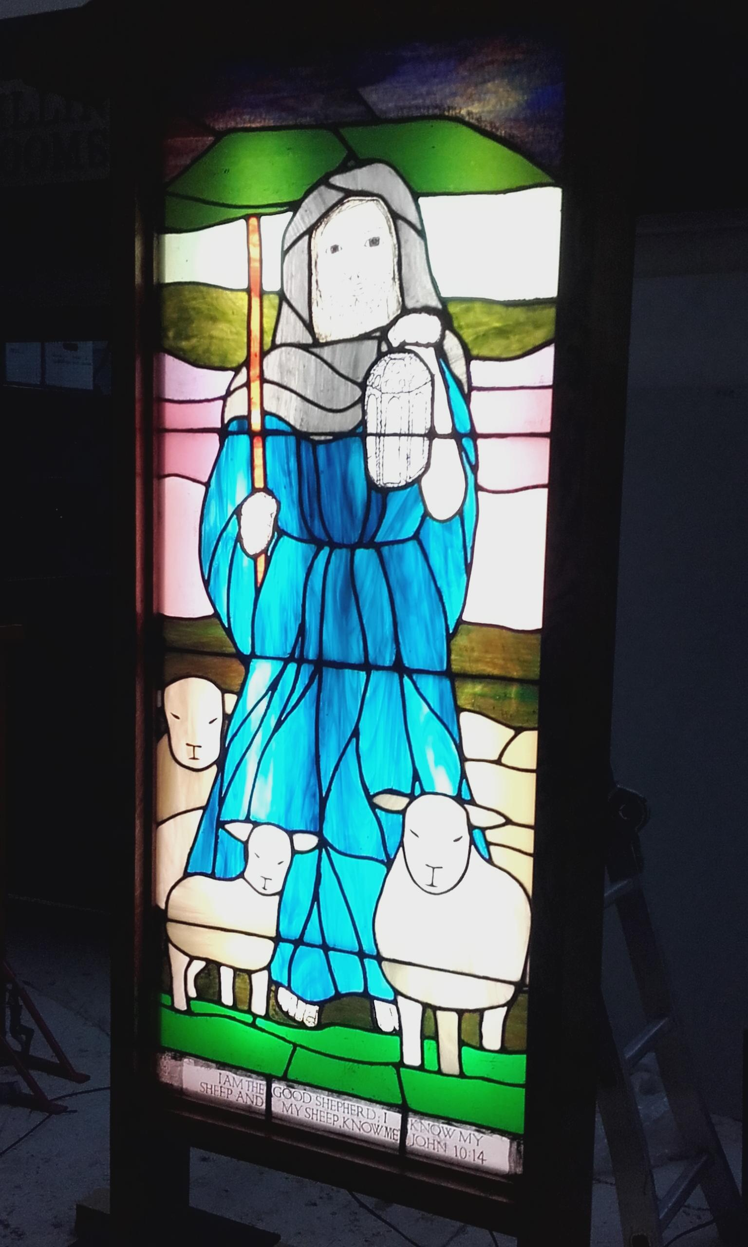 stained glass lightbox commission for good shepherd parish clone