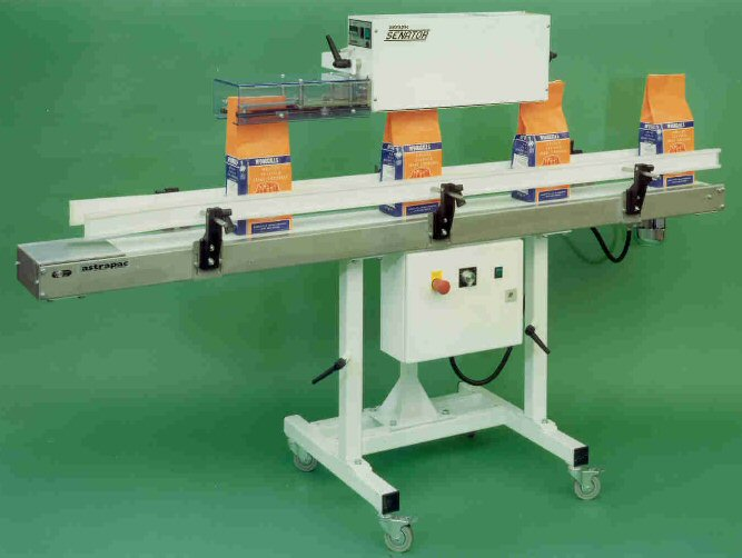 Adjustable height conveyor bag sealing.