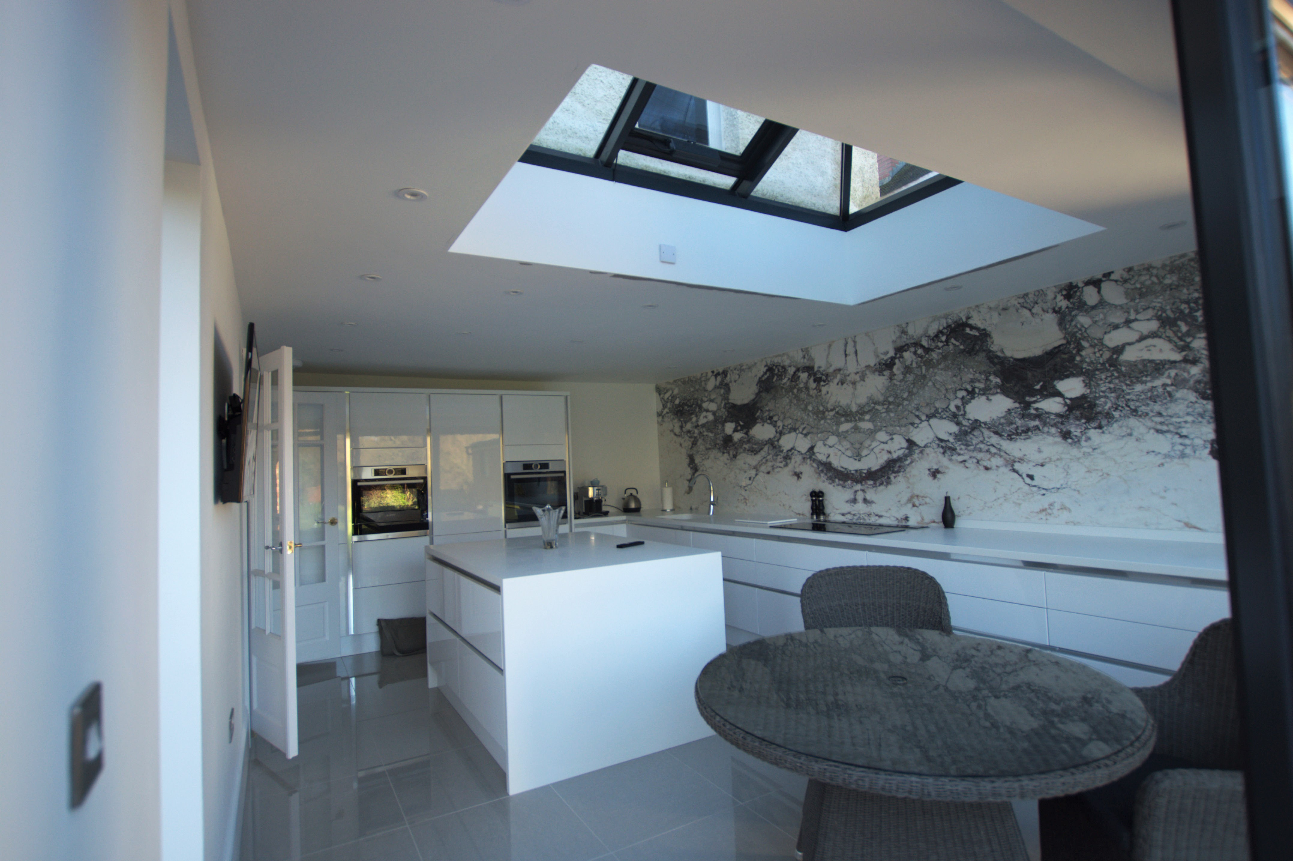 New extended kitchen with roof lantern